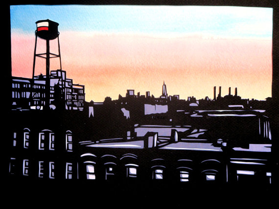 Multilayer papercutting (2015), Rooftops of Queens, with water tower, and showing lower Manhattan skyline in background